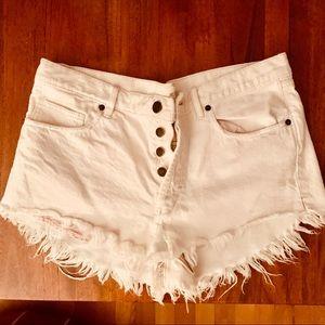 White free people denim shorts